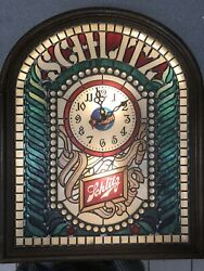 Vintage 1977 Schlitz Beer Lighted Sign With Clock Rare Faux Stained Glass Look