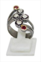 925 Sterling Silver Antique Polki Victorian Style Diamond And Ruby Engagement Ring