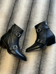 All Saints Lior Leather Black Heeled Bootie Buckle Strap Boots Womens Size 8