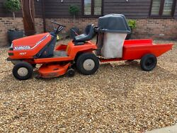 Kubota T1400 Ride On Lawn Mower Tractor 40andrdquo Deck Collector And Tipping Trailer