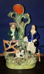 """Antique Staffordshire Man and Woman With Dog Figural Figurine Spill Vase 6 1 2"""""""
