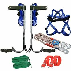 Adjustable Tree Climbing Spikes With 5 Point Safety Belt Lanyard, 304 Stainless