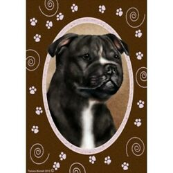 Paws House Flag Black and White Staffordshire Bull Terrier 17231