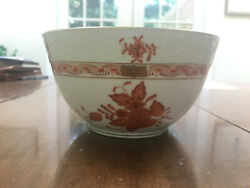 Herend Bowl With Red Flower Designs Flawless