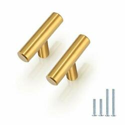 25pack Gold Cabinet Pulls And Knobs 50mm 2inch Length Single Hole T Bar Handl...