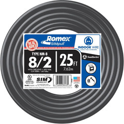 Southwire 8/2 Awg Gauge 25ft Indoor Electrical Copper Wire Ground Romex Cable