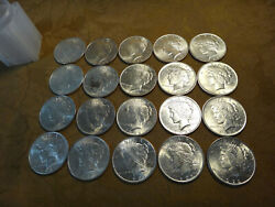 Roll Of 20 United States Silver Au/bu Peace Dollars Mixed Dates - Free Sandh Usa