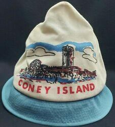 Original Vintage Coney Island Ny Imprinted Canvas Souvenir Hat Red White And Blue