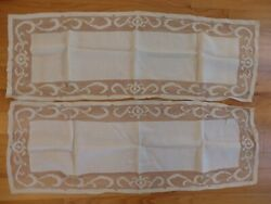 2 Antique Off White Linen Hand Crocheted Edge Table Runners 13 1/2 X 38 1/2