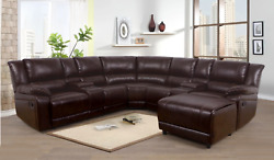 Curbside Shipping To Illinois - New Brown Leather Recliner Sectional W/ Chaise