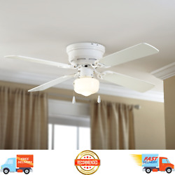 42 Hugger Metal Indoor White Ceiling Fan With Single Light, 4 Blades Reversible