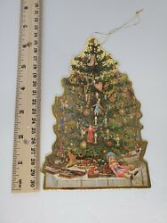 Vintage Christmas Die Cut Decorations Victorian Tree Gold Accents Double Sided