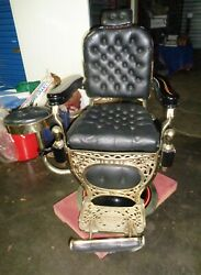 Early 20th Century Hydraulic Barber Chair By Theo A. Kochs Chicago.