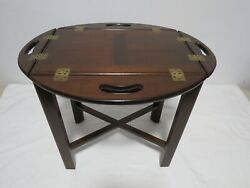 Vintage Wood Butlers Tray Table With Hinged Fold Up Handles