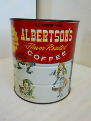 Vintage Alice In Wonderland Albertson's Coffee Can Tin Canco