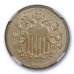 1867 No Rays 5c Shield Nickel Ngc Ms 63 Uncirculated Mint State Us Type Coin