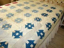 Primitive Country Antique Feedsack Shirt And Calico 9 Patch Block Quilt