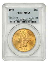1899 20 Pcgs Ms63 - Liberty Double Eagle - Gold Coin