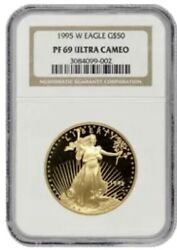 1995 W Gold 50 American Eagle 1 Oz Proof Coin Ngc Pf 69 Ultra Cameo