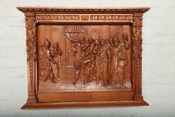 Great Carved Antique Oak Solid Wall Plaque - Bae12