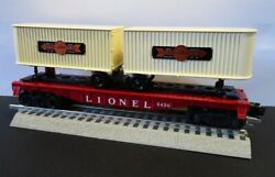 Lionel 6430 Flat Car With Two White Cooper Jarrett Trailers