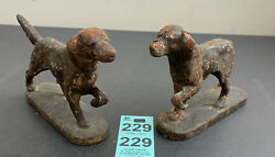 Antique Vintage Cast Iron Hunting Pointer Retriever Dog Bookend Statue Figurines