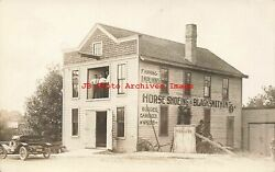 Wi, Milford, Wisconsin, Rppc, Hick's Blacksmith Shop, Farm Implements, Photo