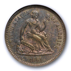 1861 Seated Liberty Half Dime Ngc Ms 63 Uncirculated Old Fatty Holder