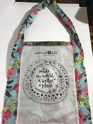 NATURAL LIFE Cotton Crossbody Tote Bag Multicolor MAKE THE WORLD A BETTER PLACE $19.88