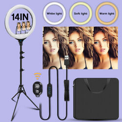 14'' Led Selfie Ring Light With Tripod Stand Phone Holder Kit For Live Makeup Us