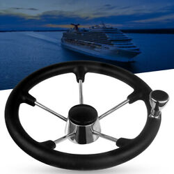 Stainless Steel Marine 13-1/2 Boat Steering Wheel With Knob 25 Degree Dish