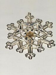 Vintage Gorham 1981 Sterling Silver Christmas Snowflake Ornament W/gold Filled
