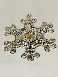 Vintage Gorham 1988 Sterling Silver Christmas Snowflake Ornament W/gold Filled