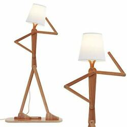Hroome Modern Decorative Cool Floor Lamp Wood Tall Creative Swing Arm Unique Des