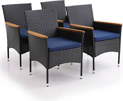 Outdoor Patio Chairs Set Of 4 Rattan With Cushion Garden Dining Wicker Furniture
