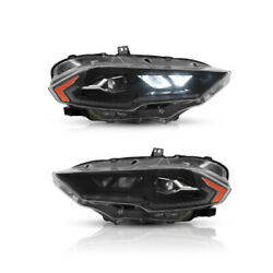 Vland Amber Full Led Headlights Direct Replacement For 2018-2021 Ford Mustang