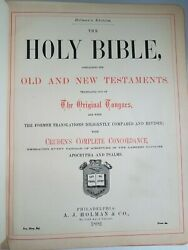 Antique Leather Bible 1892 Beautiful Excellent Binding Old Illustrated Maps ++