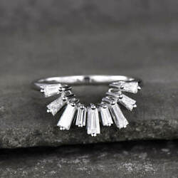 14k White Gold Half Eternity Engagement Wedding Crown Band Ring 2.15 Ct Baguette