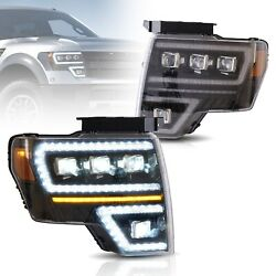 Vland Full Led Projector Headlights /w Sequential Turn For 2009-2014 Ford F-150