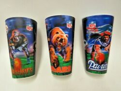 Nfl 3d Stadium Cups Lot Of 3 Patriots Steelers And Bears W/official Nfl Stickers
