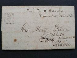 Maine Saco 1827 Stampless Cover, Boxed Town Fancy Forwarding Strike