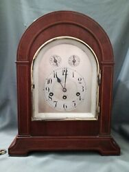 Fine Antique Junghan Westminster Gothic Beehive 16 Clock Bracket Mahogany Inlay