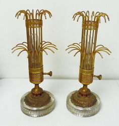Pair Of Antique Art Deco Glass Base And Metal Waterfall Boudoir Table Lamps