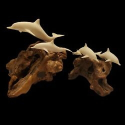 2 Vintage John Perry Burl Wood Driftwood Dolphin Family Sculpture Collection