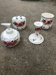 Vtg Mary Ann Baker Rose Violet 4 Pc Bathroom Set Cup Soap Toothbrush Candles