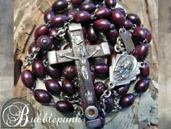 Antique Sterling Silver Cocoa Bead Relic Crucifix Anddagger Catholic Rosary Anddagger Roma Italy
