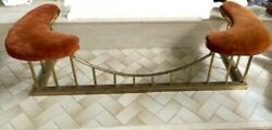 Antique Brass Club Fireplace Fender With Cushioned Seats And Curved Rail