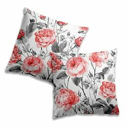 LUEAXRG Decorative Pillow Covers 18 x 18 Set of 2 Square Red Roses Flower Thr...