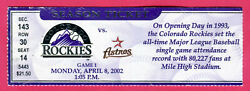 *ASTROS CRAIG BIGGIO HITS FOR THE CYCLE TICKET STUB 4 8 02 ROCKIES OPENING DAY