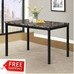 Faux Marble Dining Table Metal Space Saving Small Place Apartment Kitchen Sturdy